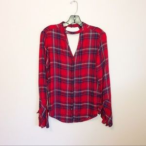 Jessica Simpson Bell Sleeve Flannel Top